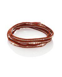 Chan Luu   Metallic Silver & Leather Wrap Bracelet   Lyst