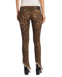 R13 - Brown Kate Leopard Angled Shredded Hem Skinny Jeans - Lyst