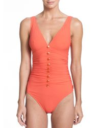 Shan | Orange One-piece Serena V-neck Swimsuit | Lyst