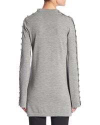 Chloé - Gray Buttoned Mockneck Sweater - Lyst