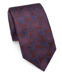 Saks Fifth Avenue Orange Paisley Silk Tie for men