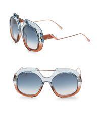 Fendi - Women's 55mm Square Aviator Sunglasses - Blue - Lyst