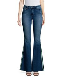 L'Agence Blue Solana High-rise Side Stripe Flared Jeans