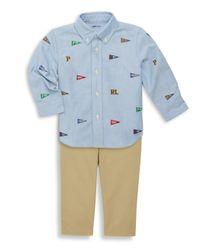 Ralph Lauren - Blue Baby Boy's Three-piece Embroidered Oxford Shirt, Chino & Belt Set for Men - Lyst