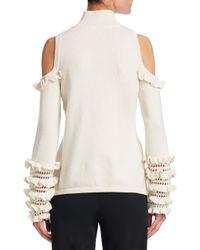 Jonathan Simkhai - White Ruffle Merino Wool Cold Shoulder Sweater - Lyst
