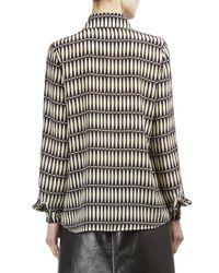 Lanvin Black Silk Button-front Blouse