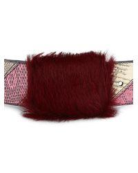 Prada Red Lizardskin Belt With Fur Detail