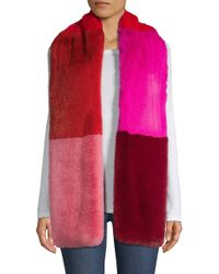 Jocelyn Red Savage Love Faux Fur Colorblocked Wide Scarf