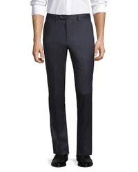 Officine Generale Blue Paul Straight-fit Flannel Wool Pants for men