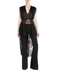 Alexander McQueen Black Gather Sat Lace Detail High-low Top