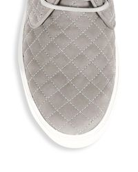 Del Toro Gray Quilted Leather Chukka Sneakers for men