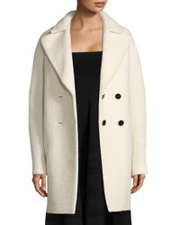 Carven White Double-breasted Cocoon Coat