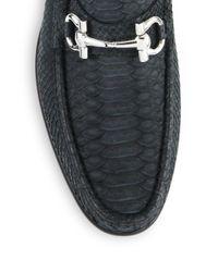 Ferragamo - Black Mason Python Bit Loafers for Men - Lyst