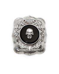 Alexander McQueen - Black Skull Brooch for Men - Lyst
