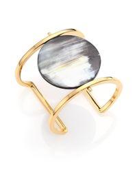 Nest - Gray Horn Disc Statement Cuff Bracelet - Lyst