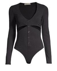 Fleur du Mal - Gray Slash Bodysuit - Lyst