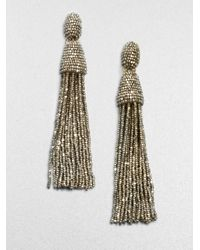 Oscar de la Renta Metallic Long Beaded Tassel Clip-on Earrings
