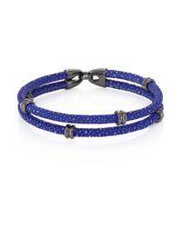 Stinghd - Blue Blackened Silver & Stingray Wrap Bracelet for Men - Lyst