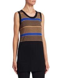 Akris Punto - Black Striped Wool Shell - Lyst