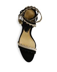 Schutz Natural Lisana Two-tone Leather Lace-up Sandals