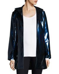 Jane Post Blue Women's High Shine Slicker Coat - White - Size Large
