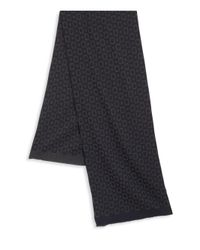 Saks Fifth Avenue - Blue Square Printed Wool Blend Scarf for Men - Lyst