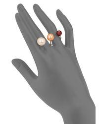 Delfina Delettrez White Never Too Light 9mm-11.5mm Tricolor Round Pearl Double Ring