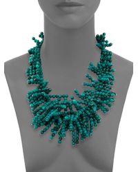 Nest - Blue Beaded Fringe Turquoise Necklace - Lyst