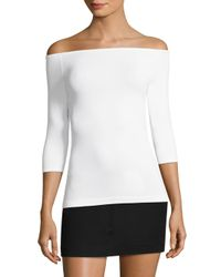 Helmut Lang White Off-the-shoulder Seamless Tee