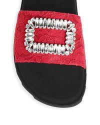 Roger Vivier Multicolor Buckle Lace Slide Sandals