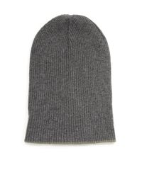 Brunello Cucinelli - Gray Contrast Cuff Cashmere Beanie for Men - Lyst