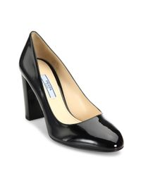 Prada - Black Patent Leather Block Heel Pumps - Lyst