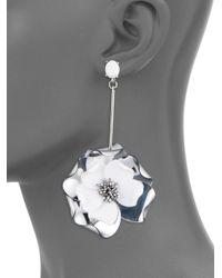 Oscar de la Renta Metallic Petunia Long Drop Earrings - Silver