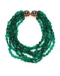 Kenneth Jay Lane - Green Multi Strand Beaded Necklace - Lyst