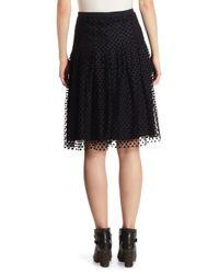 Akris Punto - Black Tulle Velvet Dot Skirt - Lyst