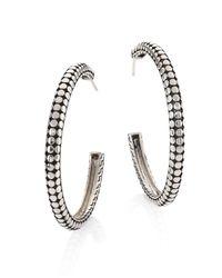 John Hardy - Metallic Dot Medium Sterling Silver Hoop Earrings/1.5 - Lyst