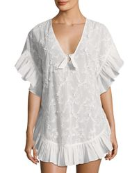 6 Shore Road By Pooja Gray Whiteshore Lace Cotton Cover-up