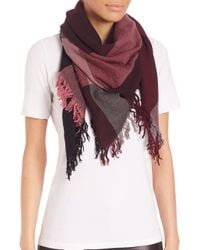 Burberry - Red Color Check Square Scarf - Lyst
