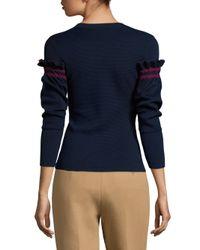 3.1 Phillip Lim - Blue Textured Crewneck Pullover - Lyst