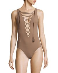 Karla Colletto Multicolor One-piece Entwined Lace-up Swimsuit