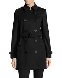 Burberry Black Kensington Wool & Cashmere Trench Coat