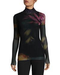 Fuzzi - Black Floral Turtleneck Top - Lyst