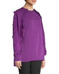 ESCADA Purple Neria Ruffle Sleeve Blouse