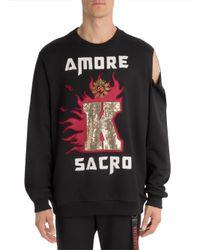 Dolce & Gabbana Black Amore Cold Shoulder Sweatshirt for men