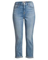 7 For All Mankind Blue Cuffed Slim Boyfriend Jeans