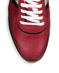Bally Red Aston Runner Low-top Leather Sneakers for men