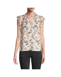 Rebecca Taylor Multicolor Ruffle-sleeve Silk-blend Floral Top