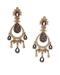 Effy - Metallic 14kt. Yellow Gold Brown And White Diamond Drop Earrings - Lyst