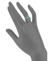 Effy - Green Final Call Diamond, Emerald & 14k White Gold Flower Ring - Lyst