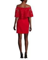 Badgley Mischka Red Floral Lace Overlay Dress